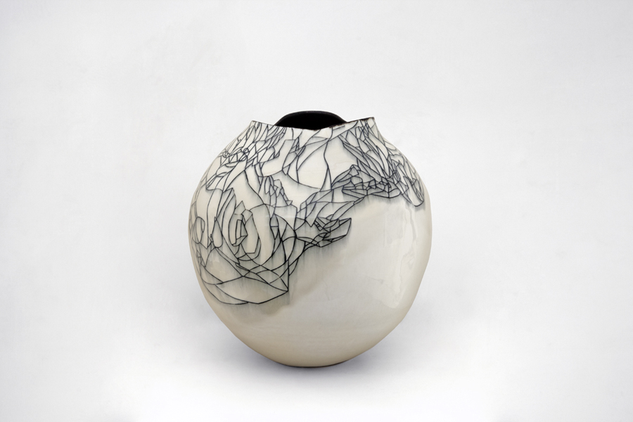 Title: Hua Ping I, 2013, Medium: Thrown and Altered Porcelain, Size: 34 x 33 x 33cm, Artists: Belinda Fox and Neville French