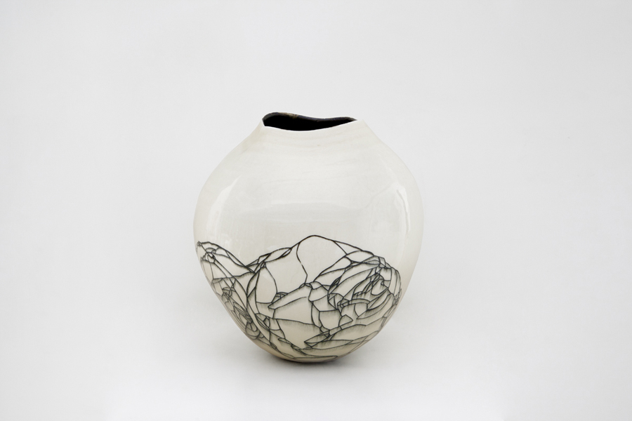Title: Hua Ping IV, 2013, Medium: Thrown and Altered Porcelain, Size: 34 x 30 x 30cm