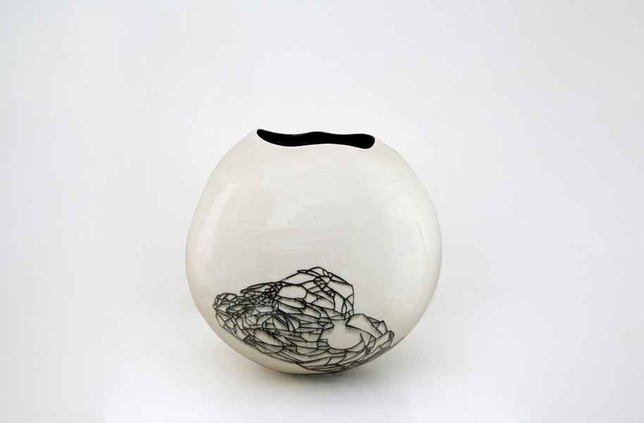 Title: Hua Ping V, 2013, Medium: Thrown and Altered Porcelain, Size: 30 x 30 x 30cm Artists: Belinda Fox and Neville French
