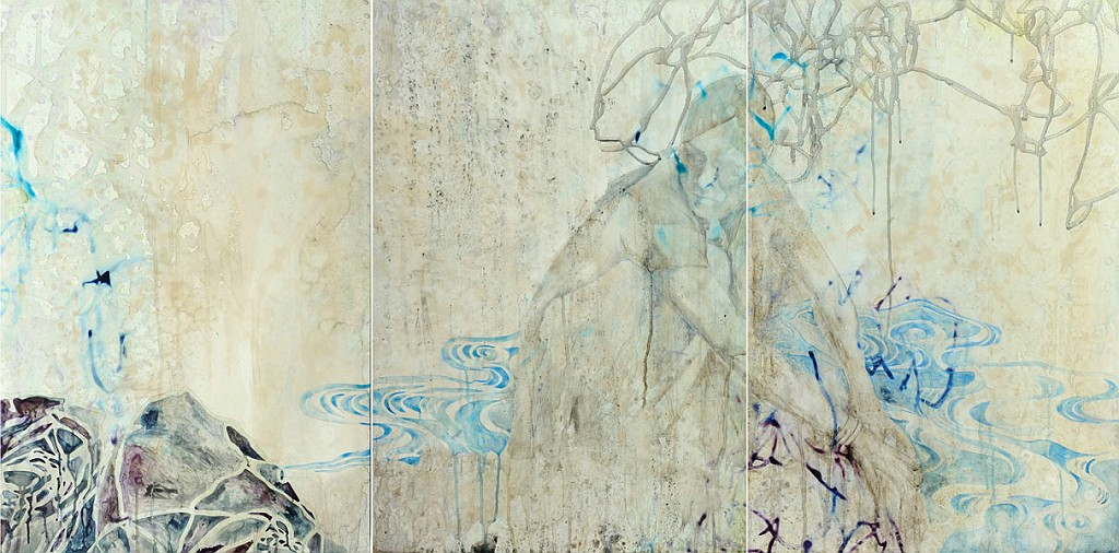 Title: Deeper the Blue, 2011. Medium: Watercolour, drawing on board. Size: 92 x 183cm