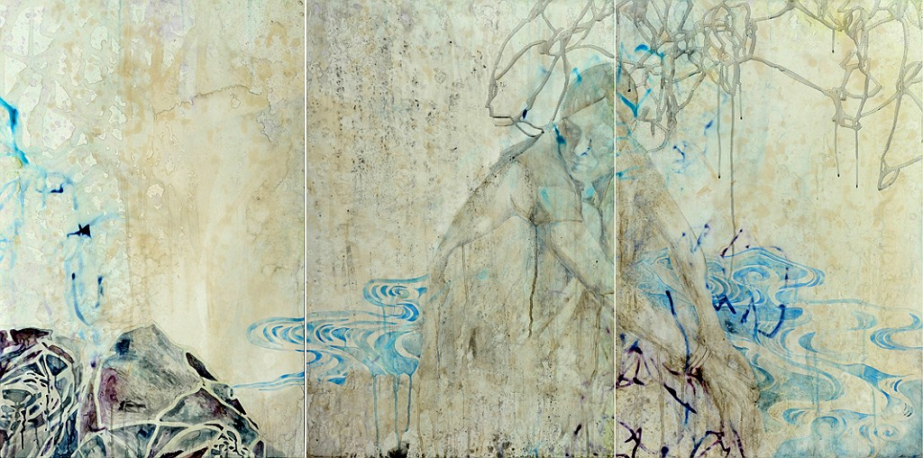 Title: Deeper the Blue, 2011. Size: 92 x 183cm. Medium: watercolour, drawing on board
