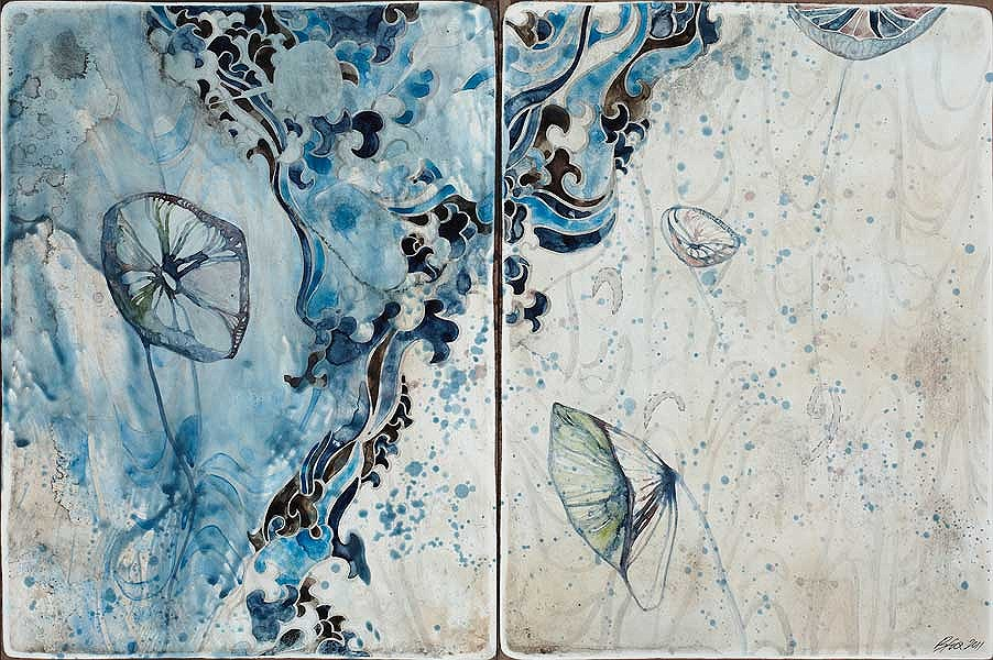 Title: Listen to Me II, 2011. Size: 30.5 x 46cm. Medium: Watercolour, encaustic, drawing on board