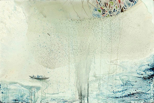 Title: Make it Right, 2012. Medium: Watercolour, drawing and encaustic on board. Size: 61 x 92cm