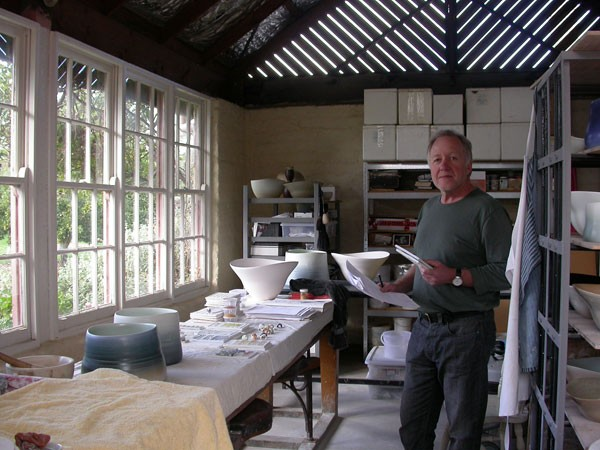 Neville making the vessels in his studio in Ballarat