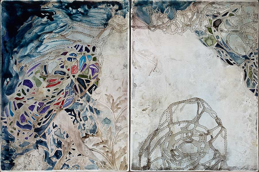 Title: Not Enough I, 2011. Size: 30.5 x 46 cm. Medium: Watercolour, encaustic, drawing on board