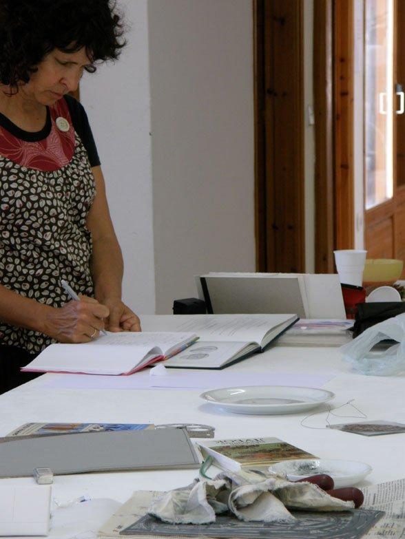 Judy Watson working