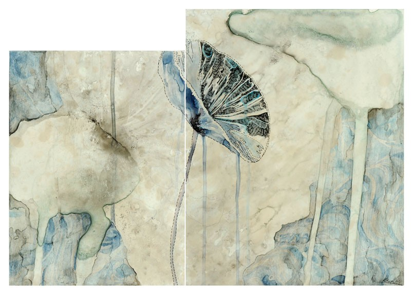 Title: Sea study I, 2011. Size: 35 x 51cm (2 panels). Medium: watercolour, drawing on board