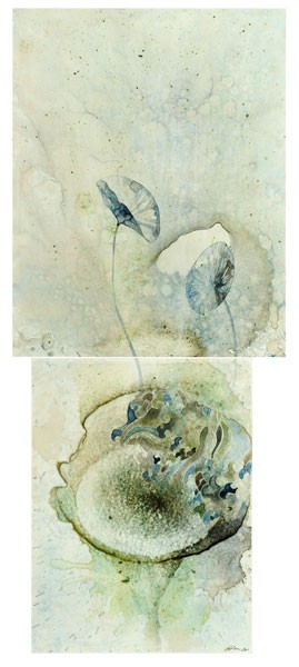 Title: Sea Study III, 2011. Size: 66 x 28cm (2 panels). Medium: watercolour, drawing on board