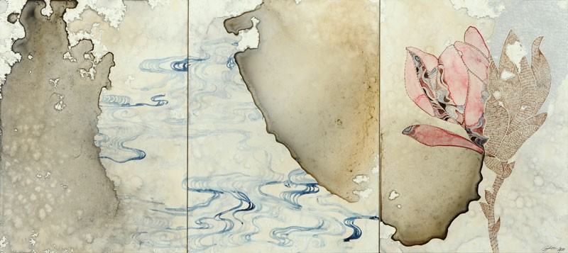 Title: Sea study II, 2011. Size: 31 x 69 cm (3 panels). Medium: watercolour, drawing on board