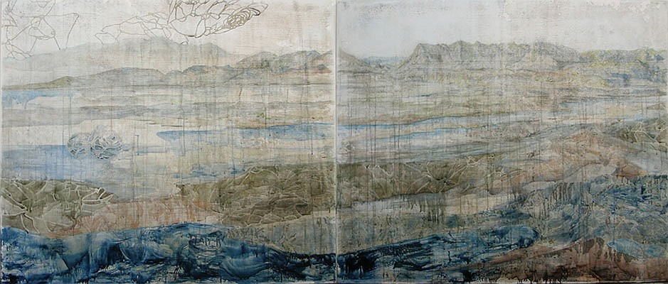 Title: Several Shades, 2012. Medium: Watercolour, drawing and encaustic on board. Size: 120 x 280cm
