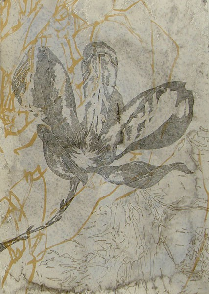 Title: August Bloom II in gold, 2011. Size: 100 x 70cm . Medium: Intaglio, screenprinted on hand stained paper. Edition: 15. Printed by Trent Walter
