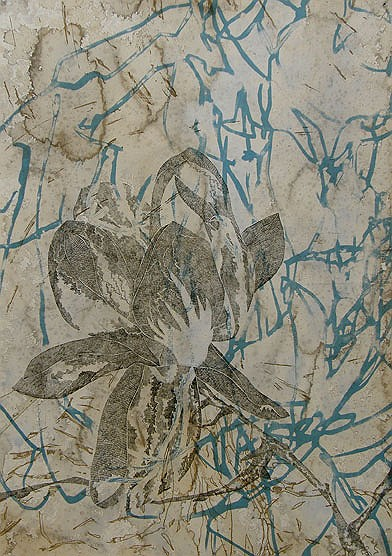 Title: August Bloom I (blue), 2010. Size: 70 x 100cm. Medium: Etching, Screenprinting on hand stained paper. Edition: 15. Printed by Trent Walter