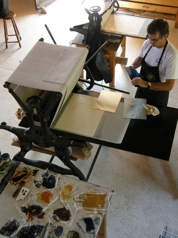Basil Hall preparing plates for printing
