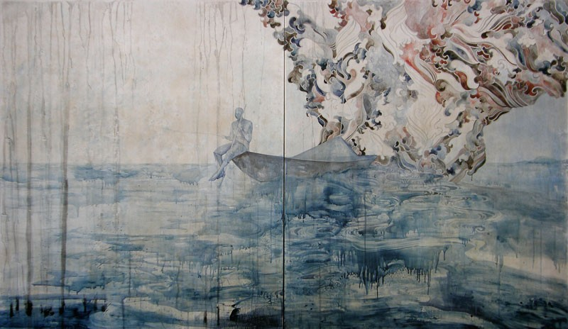Title: Tempest - for DB, 2011. Size: 140 x 240cm (2 panels). Medium: watercolour, drawing and encaustic wax on board