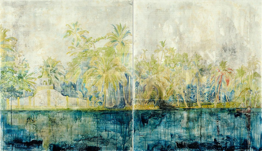 Title: The View from Here, 2012.Medium: Watercolour, drawing and encaustic on board. Size: 140 x 240cm