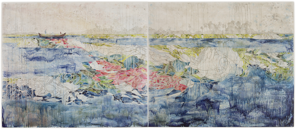 Title: Back to the Start, 2013, Medium: Watercolour, drawing, encaustic wax on board, Size: 120 x 280cm