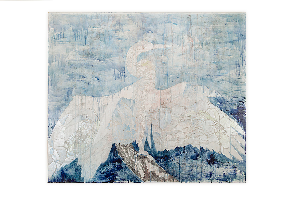 Title: A Thousand Miles Away, 2013, Medium: Watercolour, encaustic wax, drawing on board, Size: 120 x 140 cm