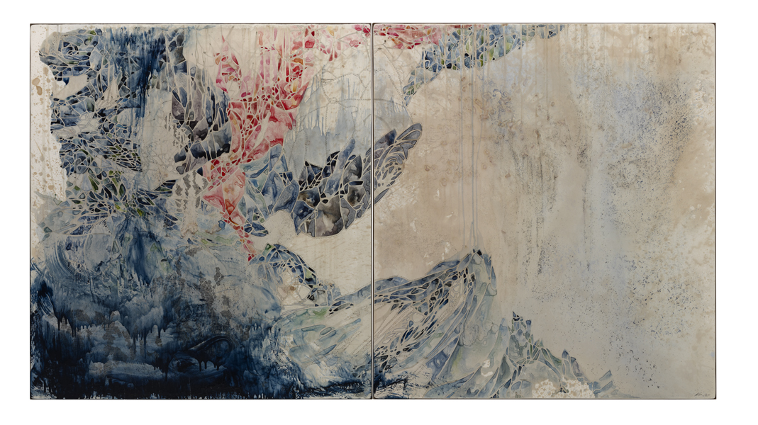 Title: Tumbler Diptych 2014, Medium: watercolour, drawing, encaustic wax on board, Size: 110 x 200cm