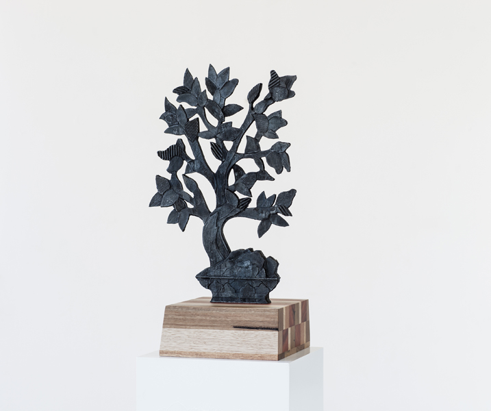 Title: Remedy II, Medium: Bronze with recycled wood stand, Size: 57 x 39 x 3 cm Edition: 10 Foundry: Coates and Wood, Melbourne. Stands made in collaboration with Chapman and Bailey, Melbourne.