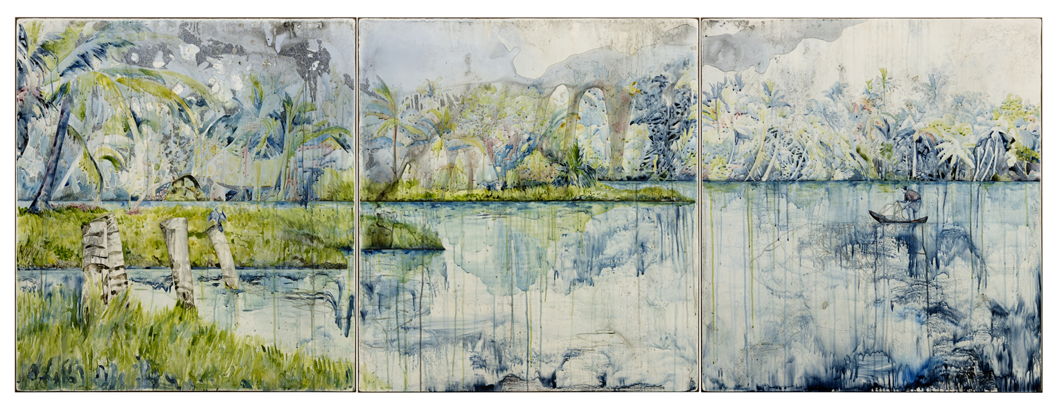Title: Looking for a certain ratio, 2015, Medium: watercolour, drawing, encaustic wax on board, Size: 110x300cm