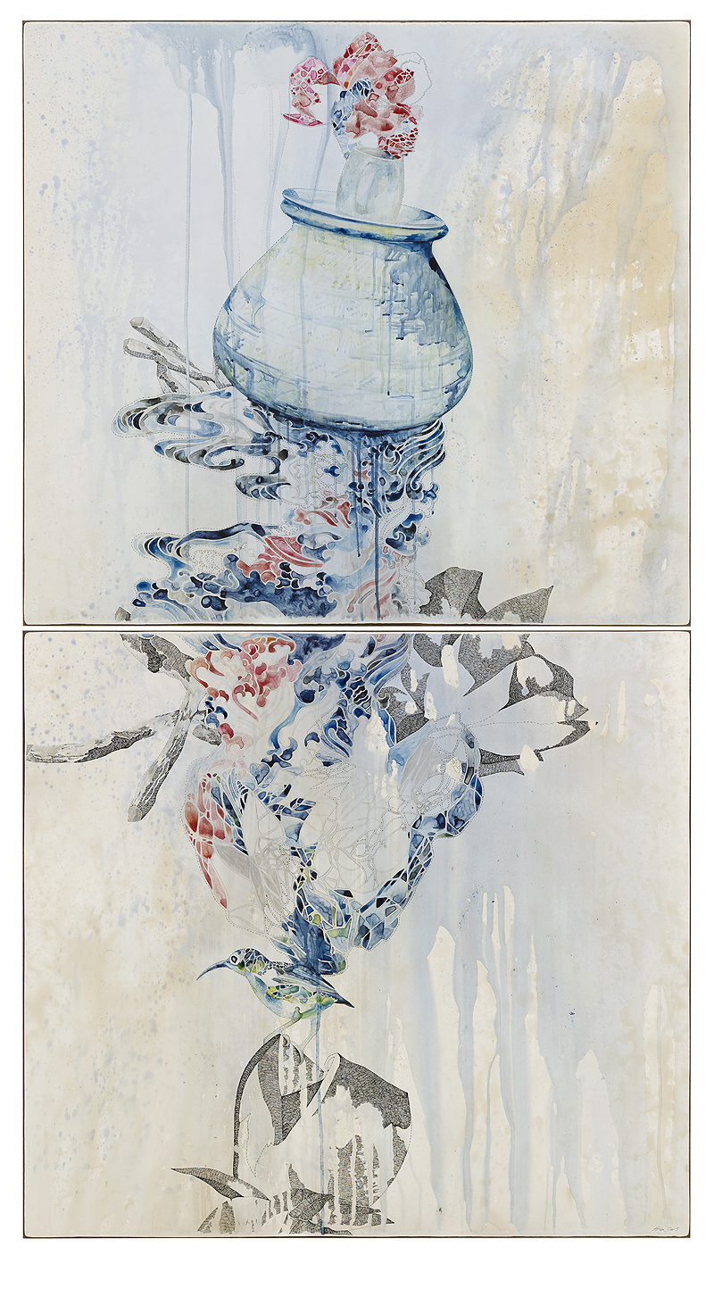 Title: Weight/wait, 2015, Medium: watercolour, drawing on board, Size: 200x110cm