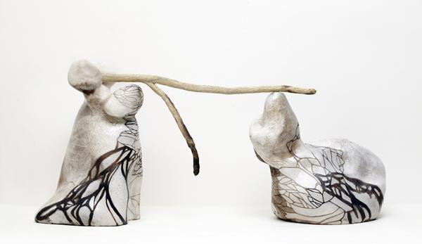 Title: Balancing the world I, 2015, Medium: hand built raku and pit fired ceramics, Size: 56 x 103 x 33cm, Artists: Belinda Fox and Jason Lim