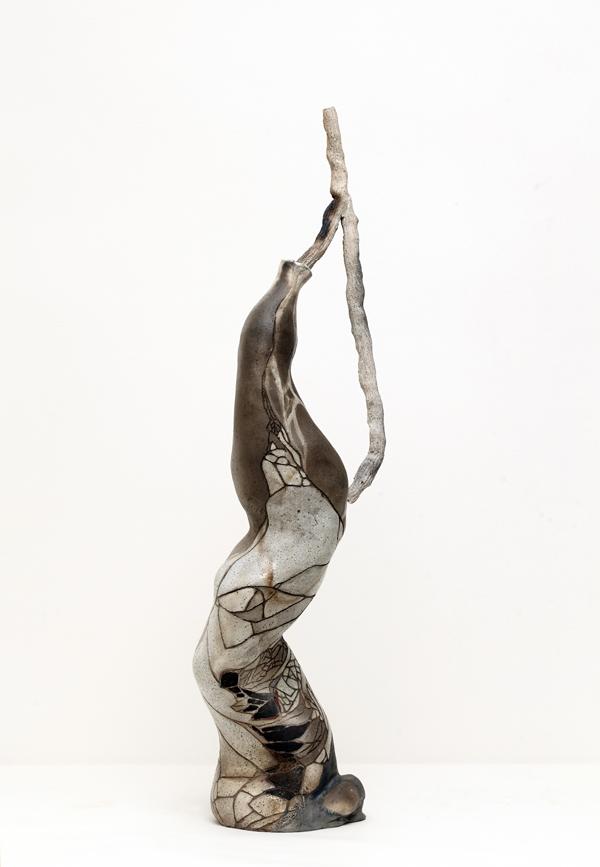 Title: Balancing the world II, 2015, Medium: hand built raku and pit fired ceramics, Size: 80x20x20cm, Artists: Belinda Fox and Jason Lim