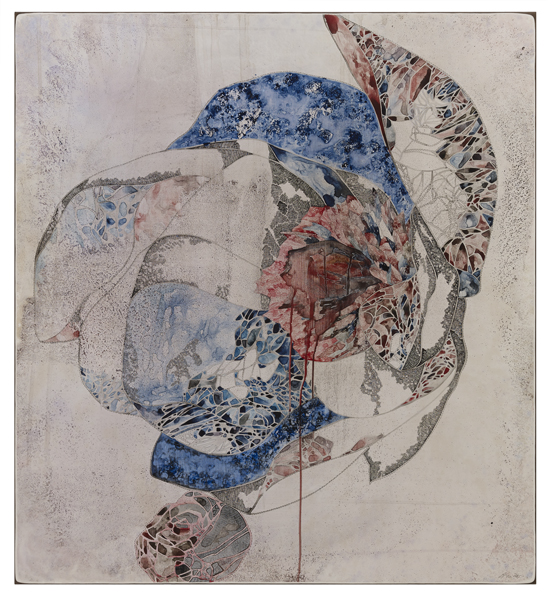 Title: 'Balance/Act II', 2015, Medium: watercolour, ink stamping, drawing on board, Size: 110 x 100cm