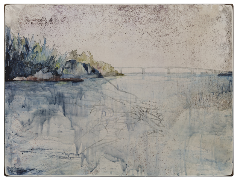 Title: 'Catch II', 2015, Medium: watercolour, encaustic wax, drawing on board, Size: 46 x 61cm