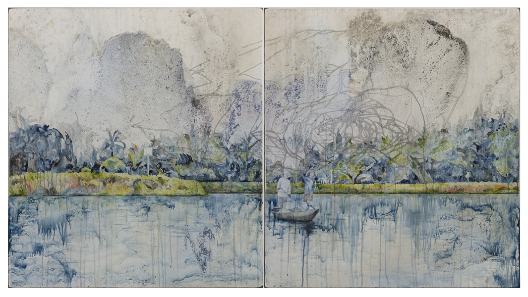 Title: 'Catch', 2015, Medium: watercolour, encaustic wax, drawing on board, Size: 110 x 200cm