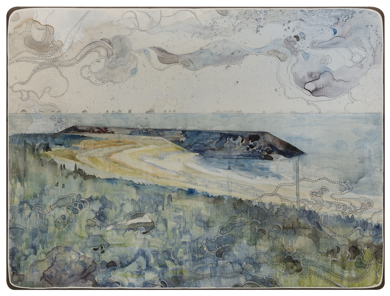 Title: 'Heavy weather II', 2015, Medium: watercolour, encaustic wax, drawing on board, Size: 46 x 61cm