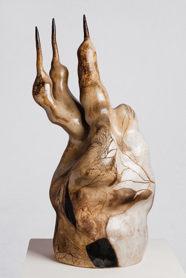 Artists: Belinda Fox and Jason Lim, Title: 'Balancing the world 10', 2015, Medium: glazed ceramics and post pit firing, Size: 100 x 56 x 40cm