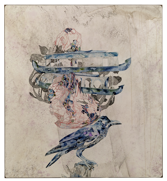 Title: Still/Life IV (the crow knows) 2016, Medium: watercolour and drawing on board, Size: 110 x 100cm. Selected for Australasian Painters; Artist Profile 10 years anniversary curated exhibition; Orange Regional Gallery, NSW 2017