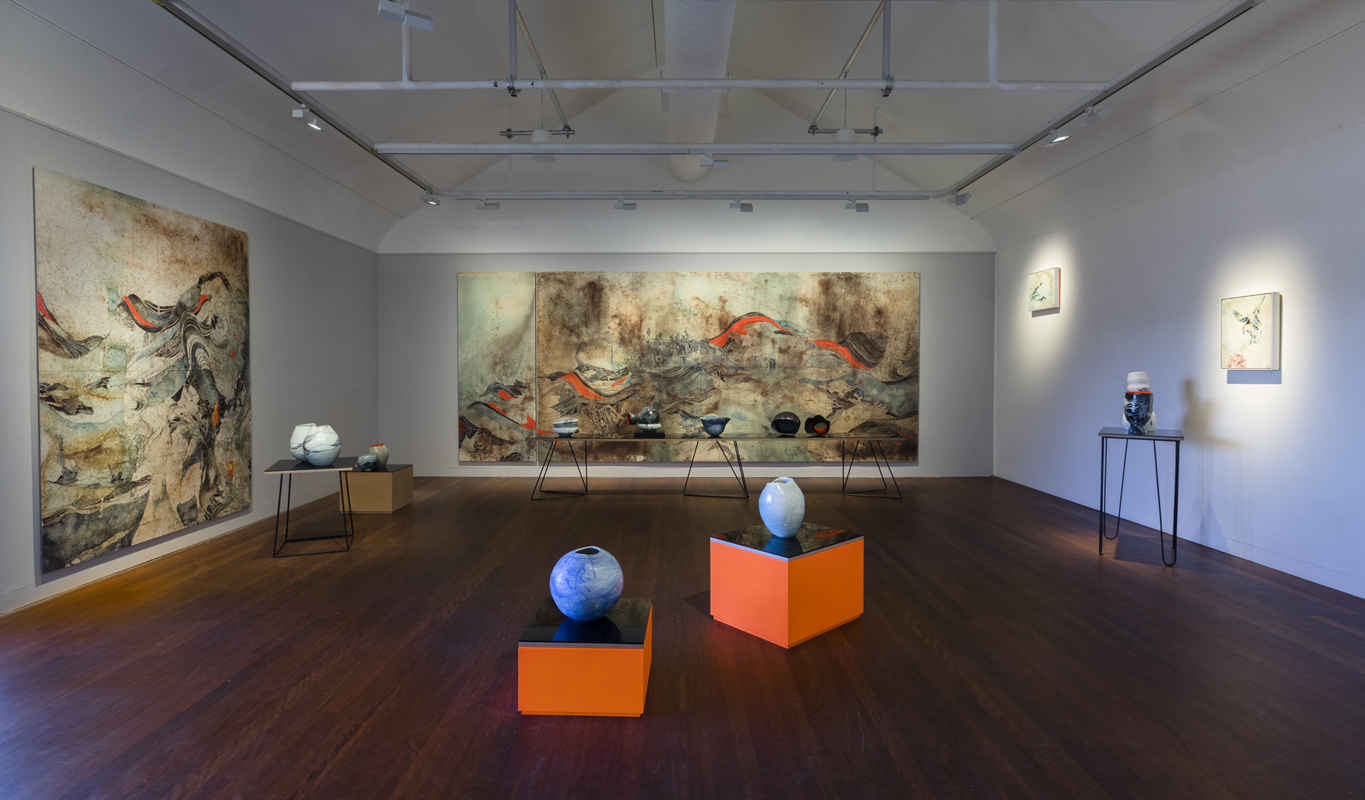 Tilt - installation 2017, Manly Art Gallery and Museum, NSW. Medium: Digital pigments prints, porcelain, glass, painting on board, Photography: Silversalt