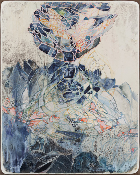 Title: Tapestry XII, 2017, Size: 50x40cm, Medium: Watercolour, drawing, collage, encaustic wax, acrylic on board